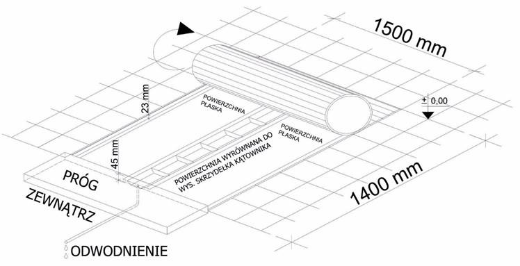 Wymiary i sposób montażu standardowego korytka odwadniającego wewnątrz obiektu pod matą czyszczącą